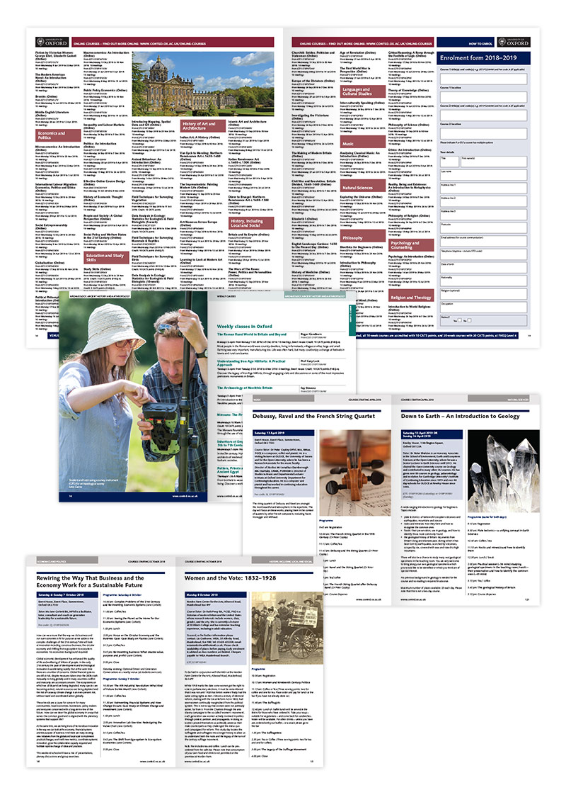 University of Oxford recruitment newspapers and prospectuses - internal spreads