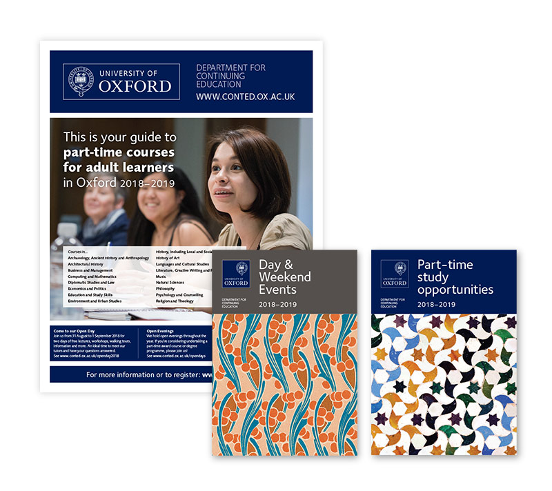 University of Oxford recruitment newspapers and prospectuses - covers