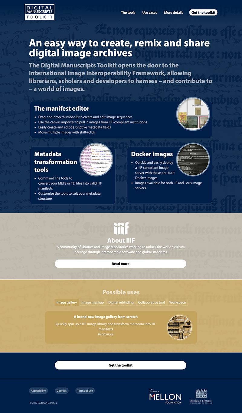 Bodleian Libraries Digital Manuscripts Toolkit website