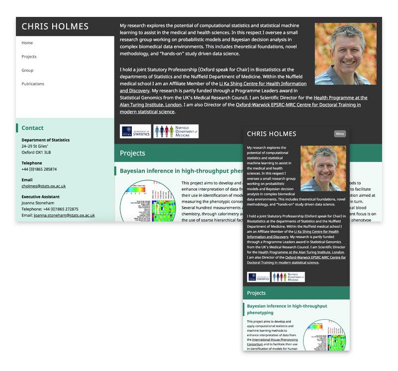 Professor Chris Holmes website