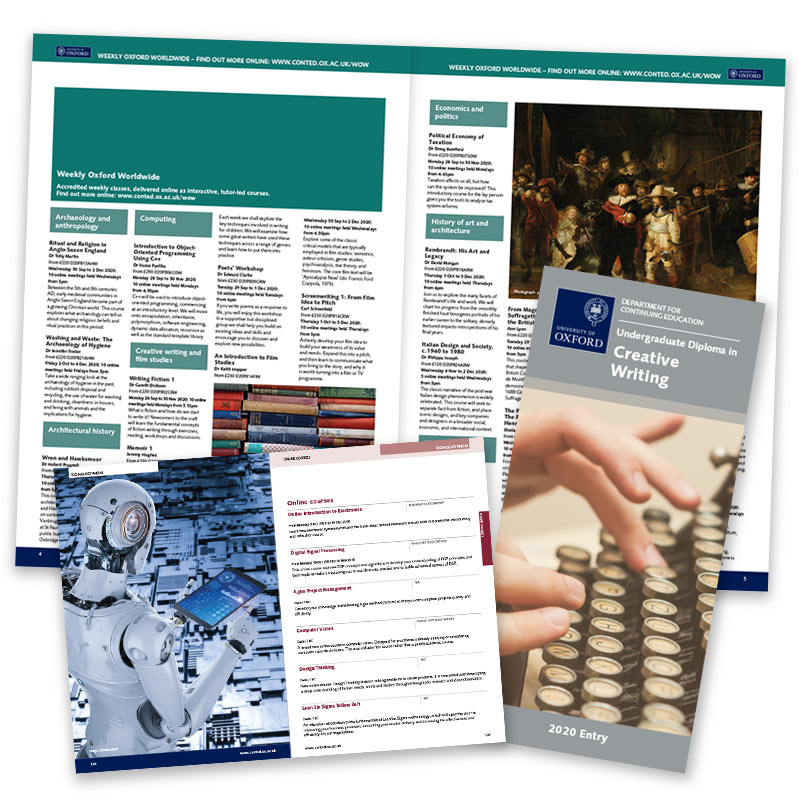 University of Oxford Continuing Education recruitment materials – insides and leaflet