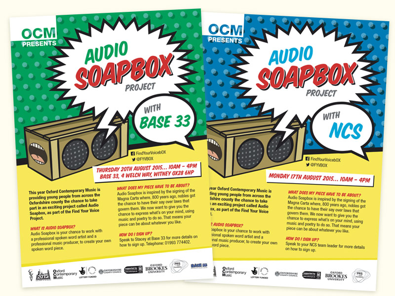 OCM Audio Soapbox Project flyers